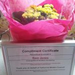 volunteer certificate & flowers